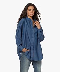 Denham Olivia Oversized Katoenen-Lyocell Denim Blouse - Blauw