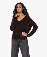Zadig & Voltaire Brumy Leo V-neck Printed Sweater - Dark Chocolate