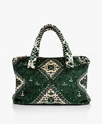 Lalla Marrakech Mini Socco Carpet  Shopper Bag - Green/Cream
