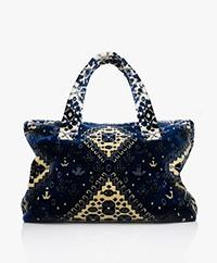 Lalla Marrakech Mini Socco Carpet  Shopper Bag - Blue/Cream