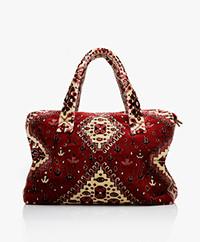 Lalla Marrakech Mini Socco Carpet  Shopper Bag - Red/Cream