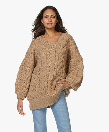 I Love Mr Mittens Cable V Neck Sweater - Sand