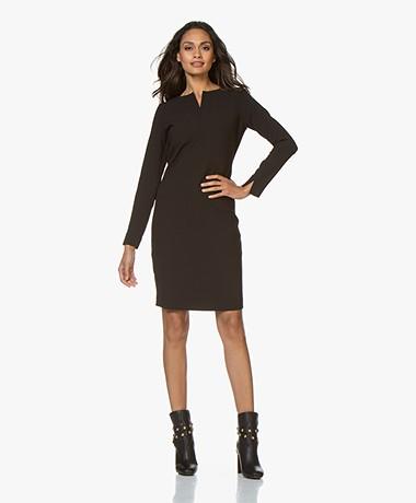 Woman by Earn Marit Split Neck Dress - Black