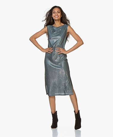 Filippa K Venus Lurex Dress - Blue Grey/Silver