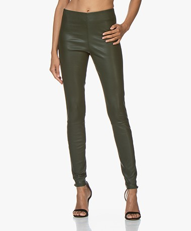 By Malene Birger Elenasoo Leather Leggings - Tent Green