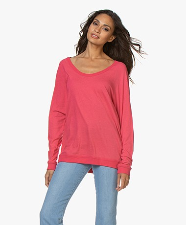 Majestic Filatures U-neck Long Sleeve with Cashmere - Groseille