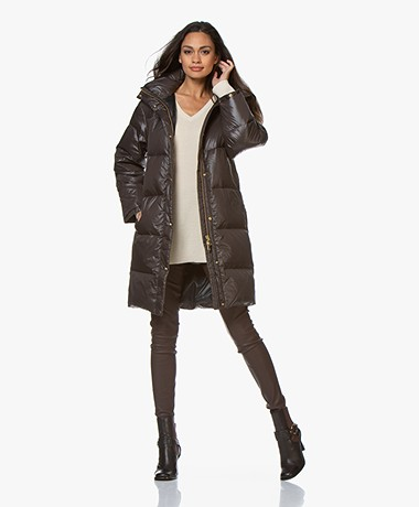 By Malene Birger Ebba Down Jacket with Hood - Dark Chocolate