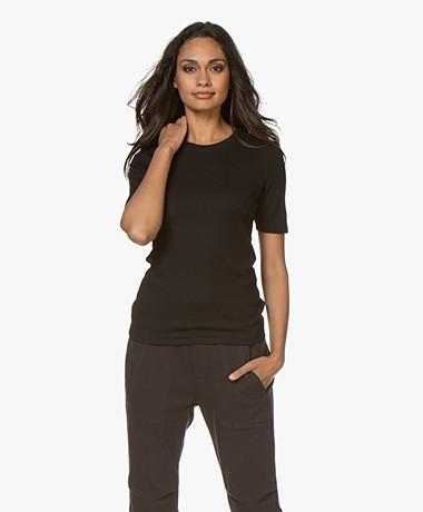 Rag & Bone Kari Rib Slim-fit T-shirt - Zwart