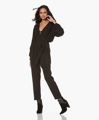 IRO Julliaca Crepe Satin Jumpsuit - Black