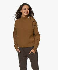 Closed Buttoned Turtleneck Sweater - Tobacco