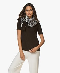 By Malene Birger Loreen Wollen Printsjaal - Charcoal