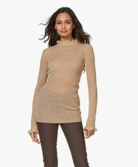 By Malene Birger Alivia Lurex Rib Pullover with Ruffles - Gold