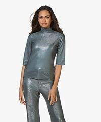 Filippa K Amber Lurex T-shirt - Vergrijsd Blauw/Zilver