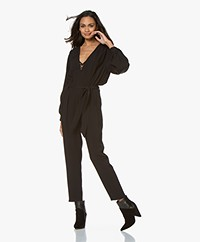 IRO Julliaca Crepe Satin Jumpsuit - Black