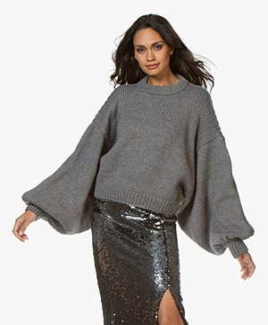 I Love Mr Mittens Jackie Cropped Trui met Ballonmouwen - Charcoal