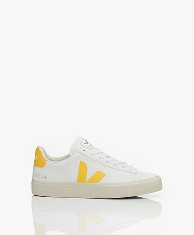 VEJA Campo Low Logo Leren Sneakers - Extra Wit/Geel