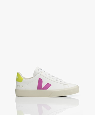 VEJA Campo Low Logo Leather Sneakers - Extra White/Ultraviolet/Yellow-Fluo