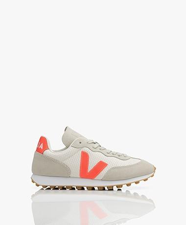 VEJA Rio-Branco Hexamesh Suède Sneakers - Greige/White/Rose-Fluo