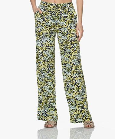 Kyra & Ko Fran Viscose Print Pull-on Pants - Blue Iris