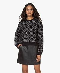 By Malene Birger Yasmia Cropped Jacquard Sweatshirt - Black