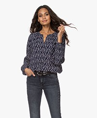 indi & cold Crinkle-Viscose Printed Blouse - Navy/Ecru