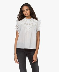 ba&sh Wood Mouwloze Broderie Anglaise Blouse - Off-white