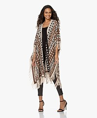 Mes Demoiselles Santana Jacquard Poncho with Fringes - Multi-color