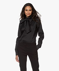 Woman by Earn Peaky Poplin Tie-neck Blouse - Black