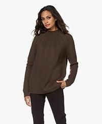 Sibin/Linnebjerg Cara Mohair Blend Funnel Neck Sweater - Army