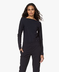 Woman by Earn Tech Jersey Boat Neck Long Sleeve - Navy