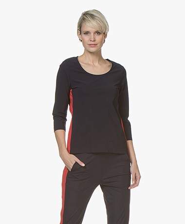 no man's land Travel Jersey T-shirt met Zijstreep - Dark Sapphire/Rood