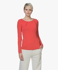 no man's land Crepe Long Sleeve with Pleated Details - Scarlet