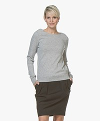 Repeat Cashmere Boat Neck Pullover - Silver Grey