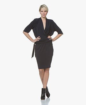 By Malene Birger Qizi Crêpe Jersey Jurk - Night Blue