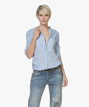 BOSS Efelize Striped Poplin Blouse - Light Blue