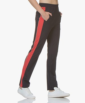 no man's land Travel Jersey Broek met Zijstreep - Dark Sapphire/Rood