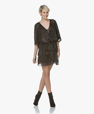 IRO Wide Draped Dress with Lurex - Black