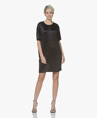 By Malene Birger Talianah Satin Crepe Jersey Dress - Night Blue
