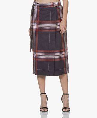 By Malene Birger Villimma Checkered Wrap Skirt - Midnight Heaven