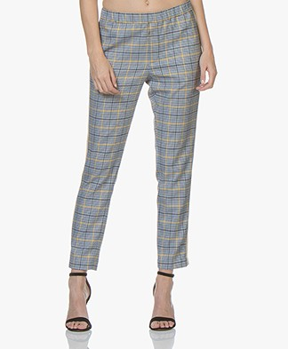 Closed Blanch Checkered Side Stripe Pants - Blue/Yellow