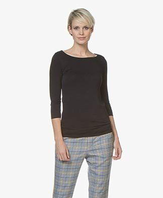 Majestic Filatures Adele T-shirt with Three-quarter Sleeves - Marine