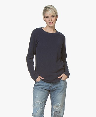 Denham Icicle Sweater in Cotton Fleece - Midnight Blue