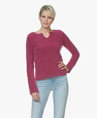 no man's land Mohair Blend Split Neck Sweater - Hubiscus