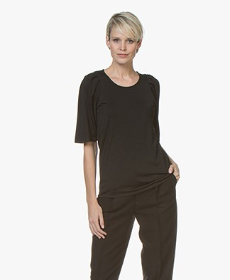 Filippa K Pleat T-shirt - Black