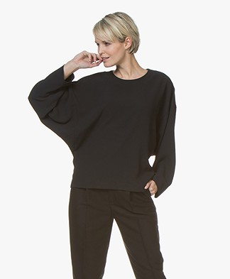 IRO Lithe Crepe Batwing Sleeve Blouse - Black