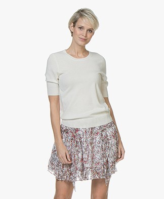 Repeat Short Sleeve Cashmere Pullover - Cream