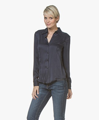 no man's land Zijden Stretch Blouse - Dark Sapphire