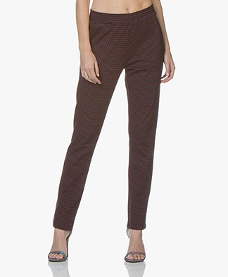 no man's land Intarsia Two-tone Pants - Scarlet
