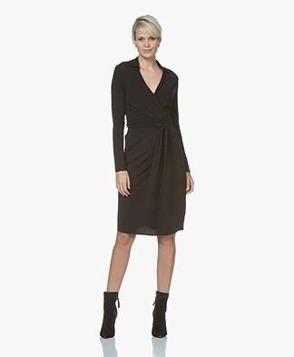 no man's land V-neck Wrap Dress - Black