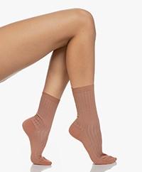 Filippa K Lurex Rib Socks - Pink Cedar